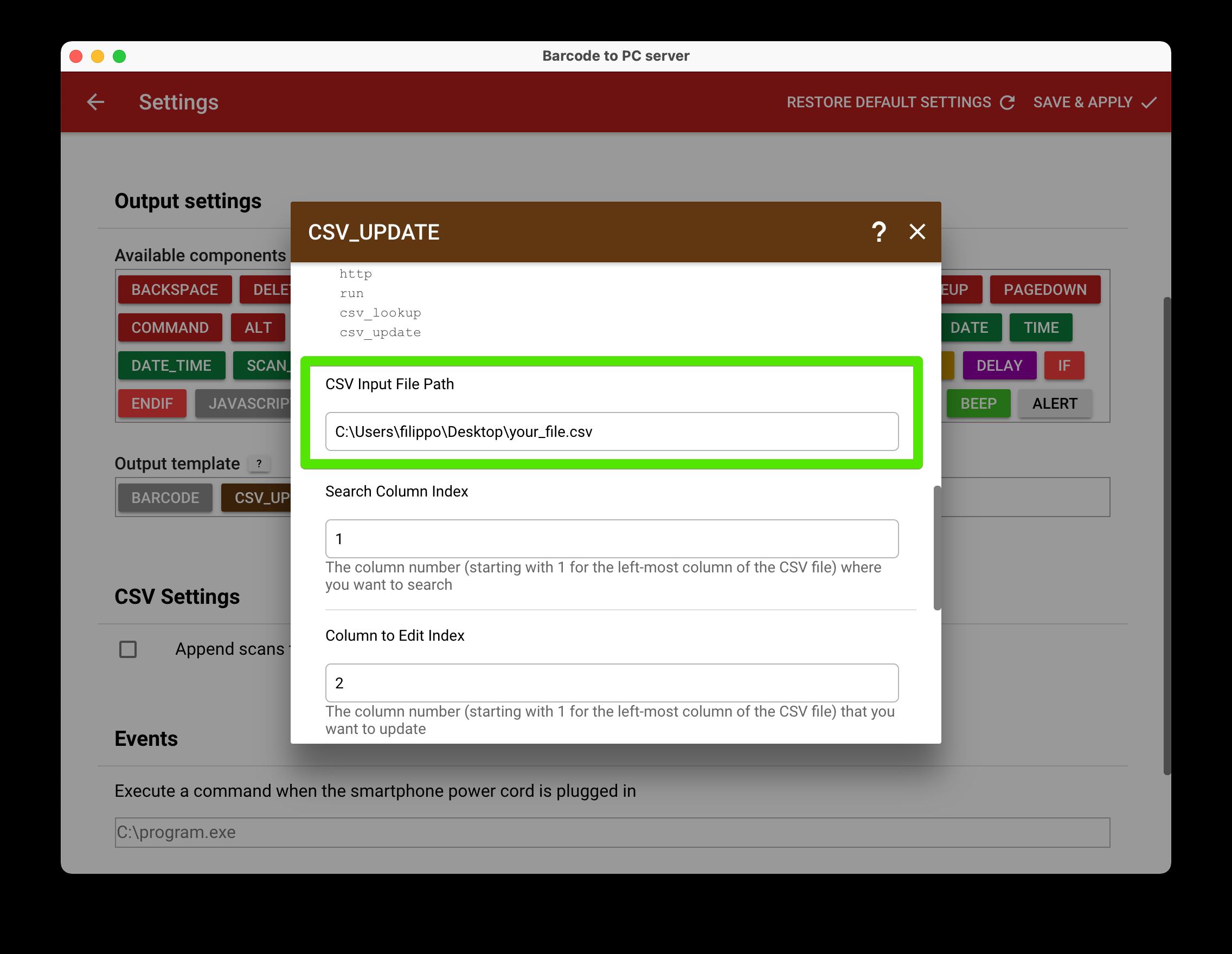 csv update file path screenshot