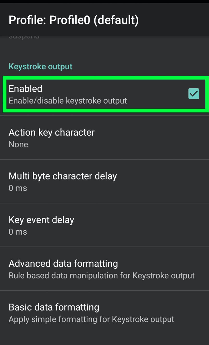 Screenshot keyboard-output